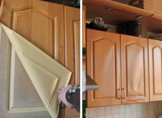 Ремонт фасадов кухонной мебели пленкой